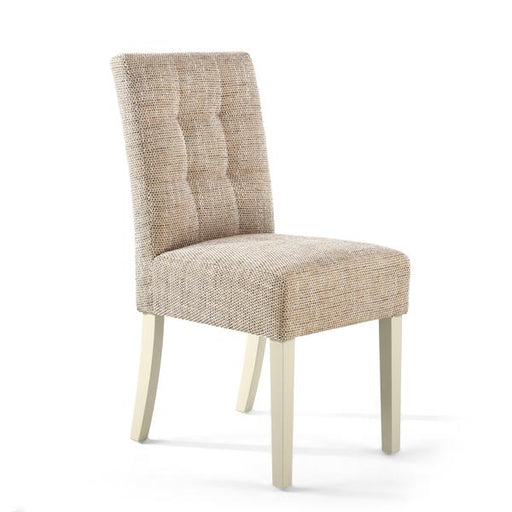 Shankar Moseley Stitched Waffle Back Tweed Oatmeal Dining Chair with Cream Legs (2pk)