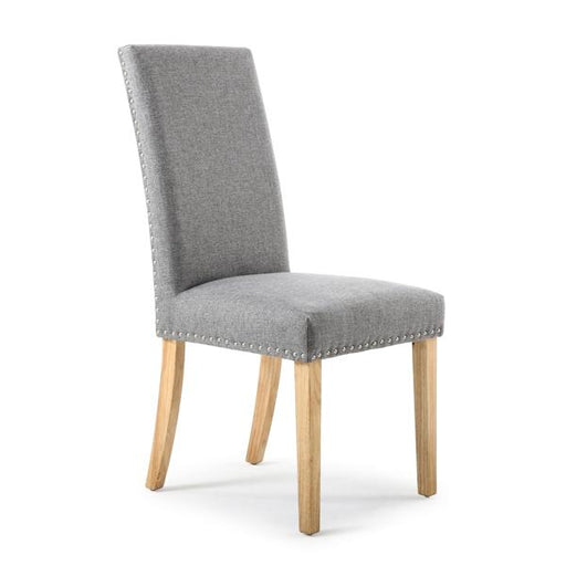Shankar Randall Stud Detail Linen Effect Silver Grey Dining Chair with Natural Legs (2pk)