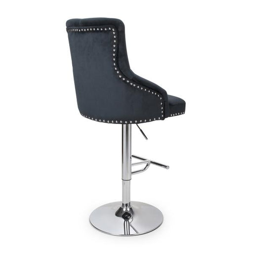Shankar Rocco Brushed Velvet Black Bar Stool