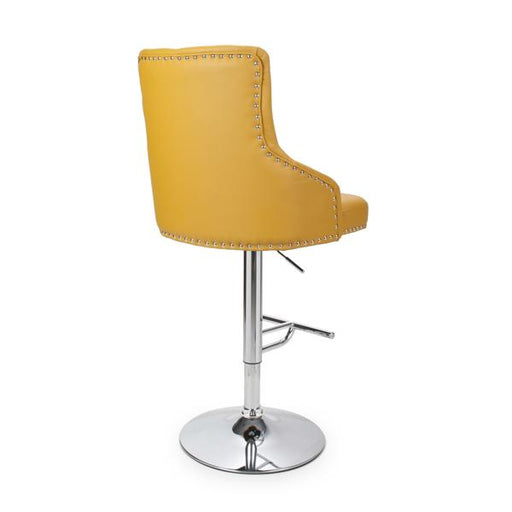 Shankar Rocco Leather Effect Yellow Bar Stool