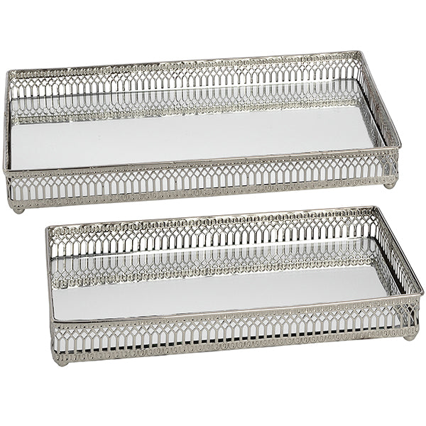 Hill Set of Rectangular Nickel plated trays