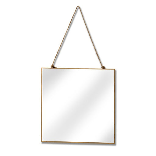 Hill Gold edged square hanging wall mirror.
