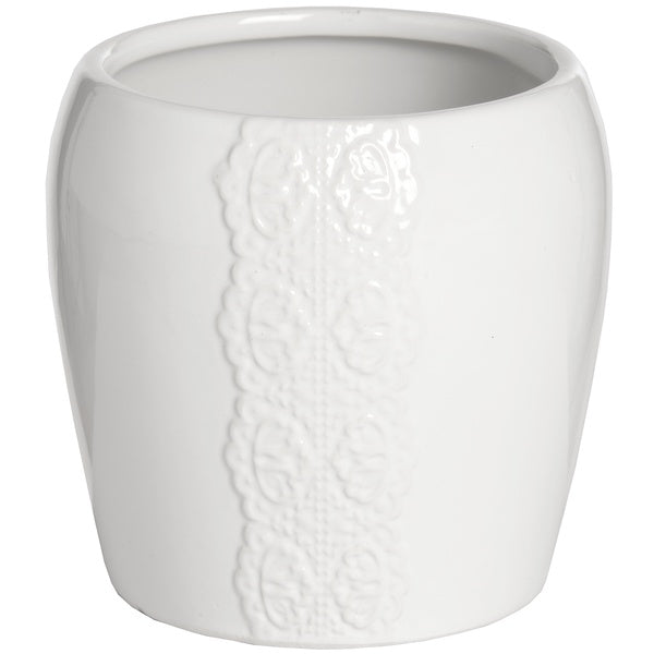 Hill Ceramic lace detail candle holder in white