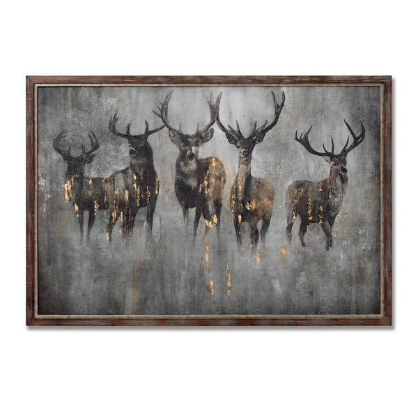 Hill Large Curios Stagg Painting on Wood with Frame
