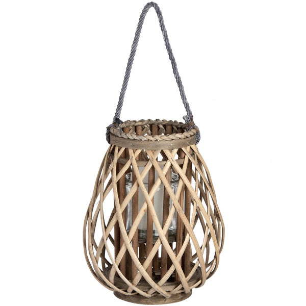 Hill Small Wicker Bulbous Lantern