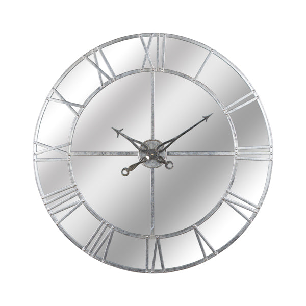 Hill Large Silver Foil Mirrored Wall Clock