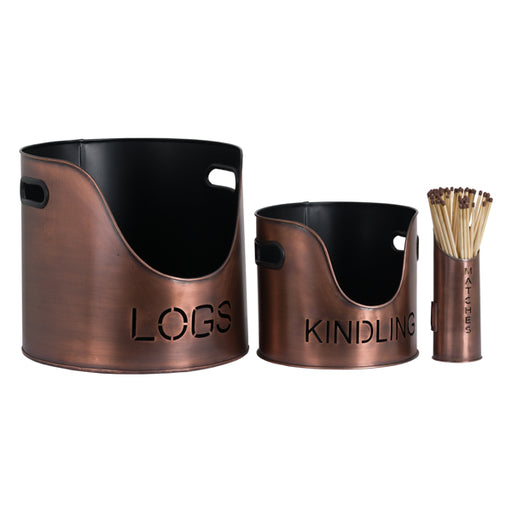 Hill Log's & Kindling Buckets + Matchstick Holder Copper Finish
