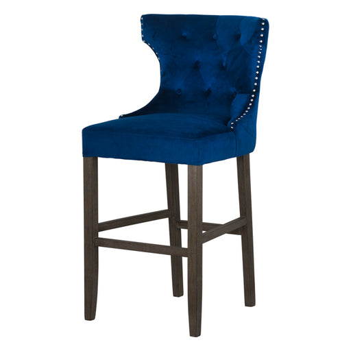 Hill Navy Velvet Tufted High Bar Stool