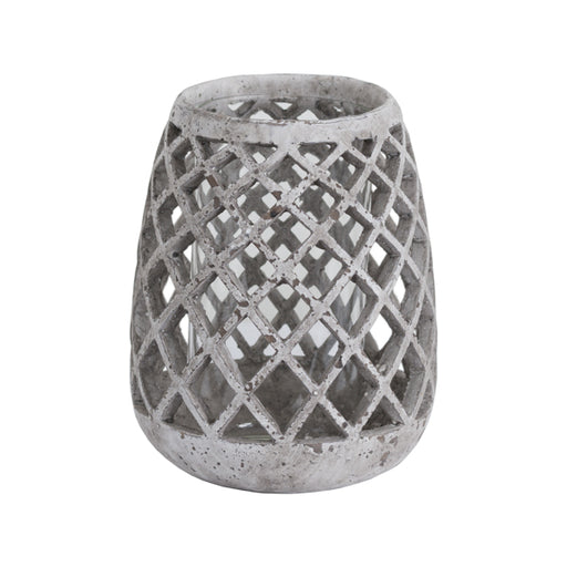 Hill Large Conical Ceramic Lattice Hurricane Lantern