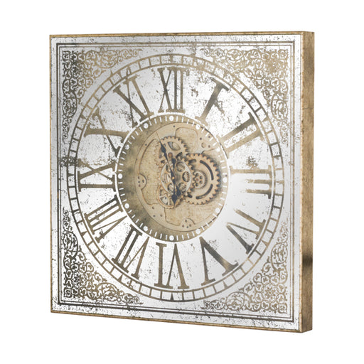 Hill Large Mirrored Square Framed Clock With Moving Mechanism