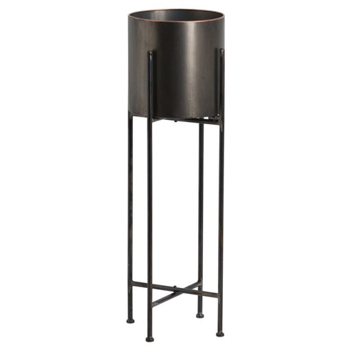 Hill Large Gun Metal Grey Cylindrical Planter On Black Frame