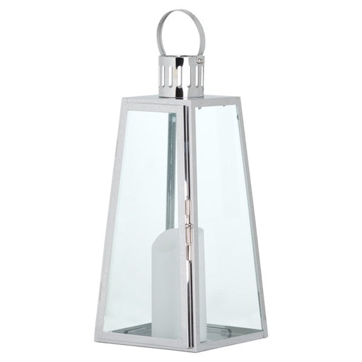 Hill Large Stainless Steel Lighthouse Lantern With Wax Flickering Flame Candle