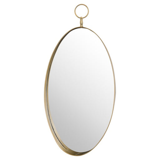 Hill Antique Bronze Oval Mirror With Decrotive Loop