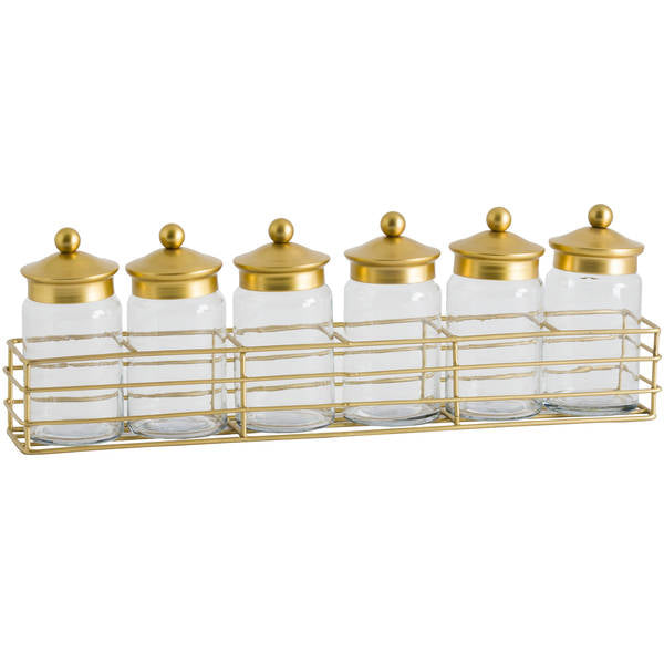 Hill Six Jar Spice Rack With Brass Lid