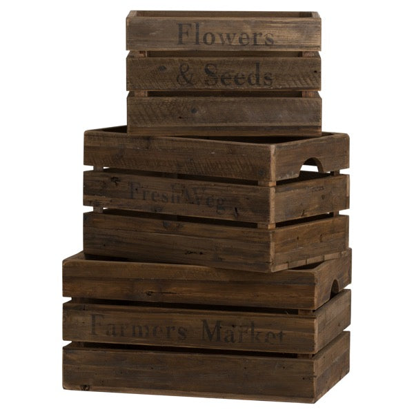 Hill Set Of Three Rustic Storage Crates