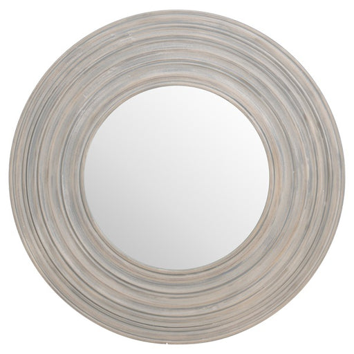 Hill Grey Painted Round Ribbed Mirror