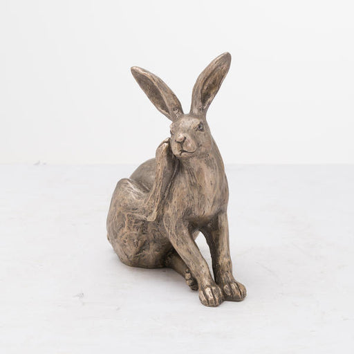Hill Interiors Sitting Bronze Hare Statue