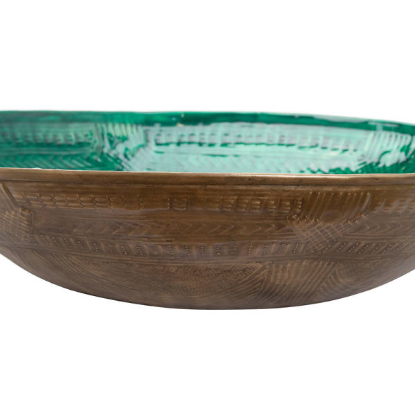 Hill Interiors Aztec Collection Brass Embossed Ceramic Dipped Bowl