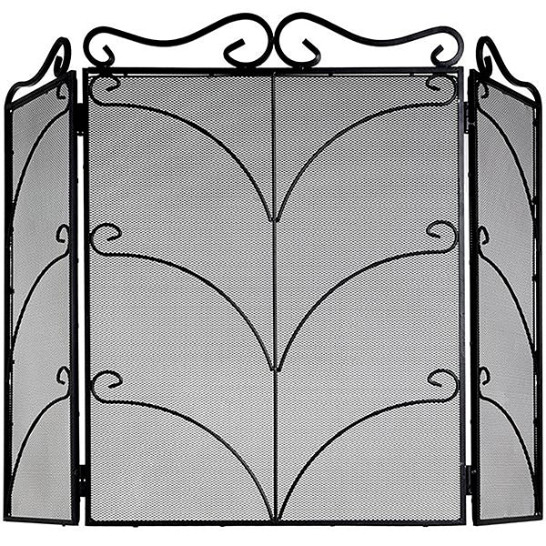 Hill Heavy Large Black Ornate Fire Screen