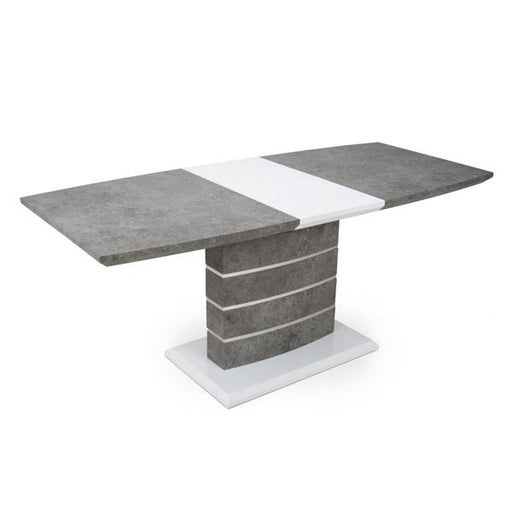 Shankar Atlas Large Extendable Granite Effect Grey/White Dining Table