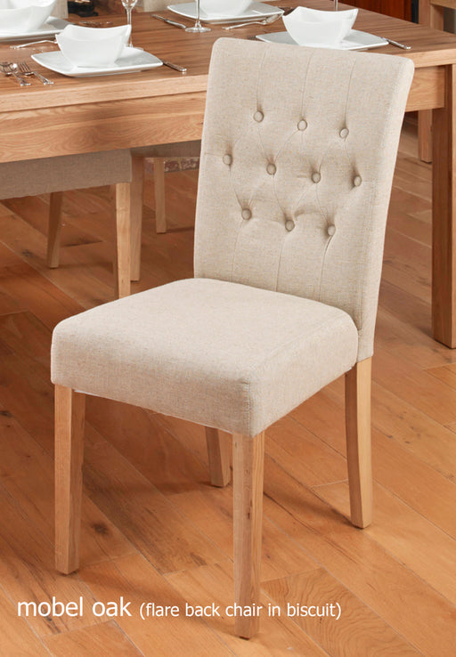 Baumhaus Oak Flare Back Upholstered Dining Chair - Biscuit (Pack of Two)