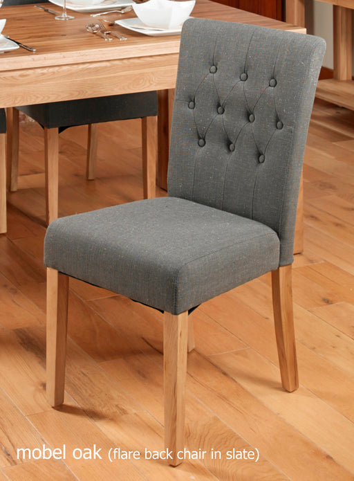 Baumhaus Oak Flare Back Upholstered Dining Chair - Slate (Pack of Two)