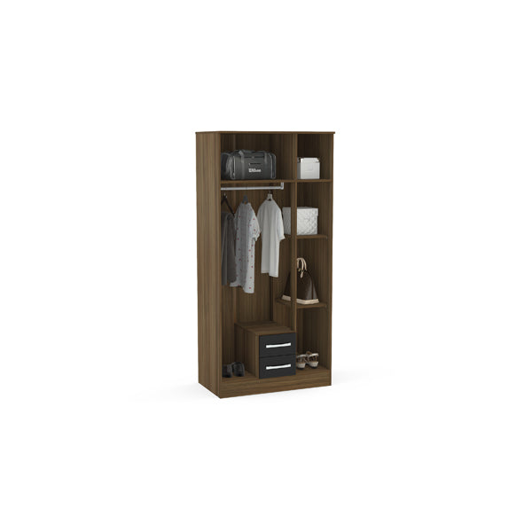 Birlea Lynx 3 Door 2 Drawer Wardrobe With Mirror Walnut & Black