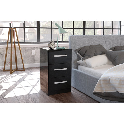 Birlea Lynx 3 Drawer Bedside Black