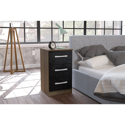 Birlea Lynx 3 Drawer Bedside Walnut & Black
