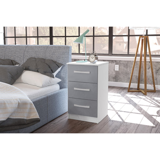 Birlea Lynx 3 Drawer Bedside White & Grey