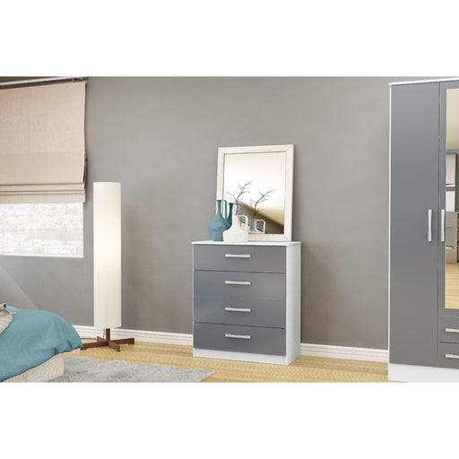 Birlea Lynx 4 Drawer Chest White & Grey