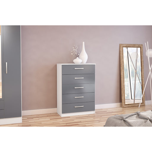 Birlea Lynx 5 Drawer Chest White & Grey