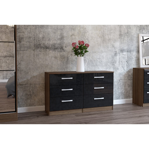 Birlea Lynx 6 Drawer Chest Walnut & Black