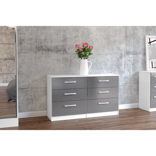 Birlea Lynx 6 Drawer Chest White & Grey