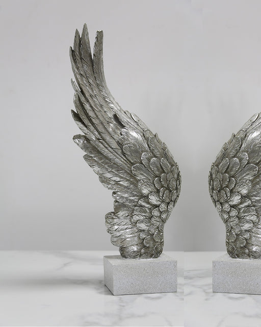 Antique Silver Left Angel Wing Decor