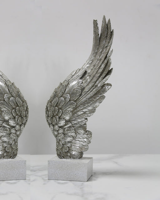 Antique Silver Right Angel Wing Decor