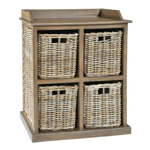 Rowico Anya Grey Rattan Large Storage Unit 2 Over 2 Baskets