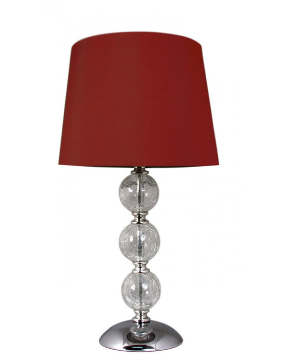 Clear Cracked Glass Red 3 Ball Table Lamp