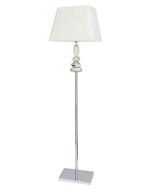 Champagne And Chrome Pebble Floor Lamp With 17 Inch White Shade