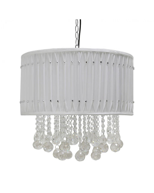 Chrome And Pure White Pleated Ceiling Light - E14