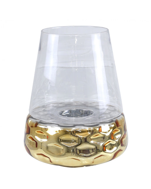 44cm Gold & Clear Glass Candle Holder