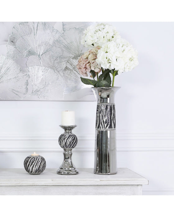 Silver Black And White Tealight Holder