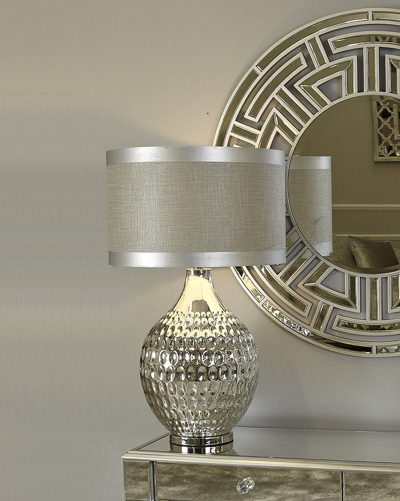 Chrome Glass Dimple Table Lamp With Grey Linen Shade