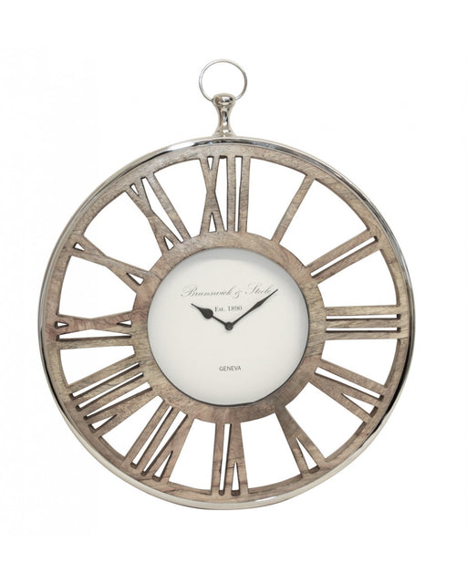 55cm Wood And Nickel Wall Clock