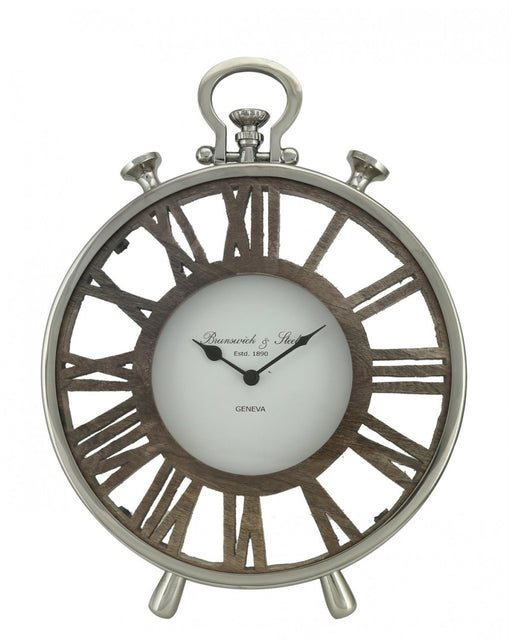 42.5cm Round Table Clock Nickel And Wood