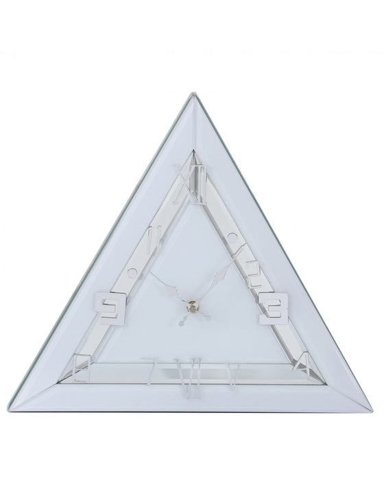 Triangle Mirror Table Clock White Clear