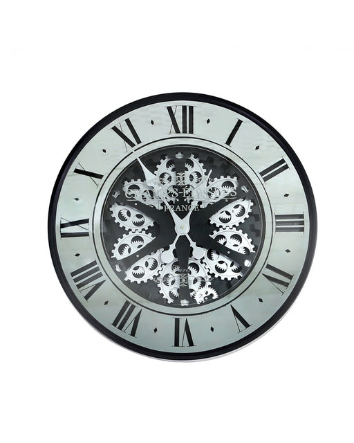 59.5cm Gears Mirror Wall Clock Black