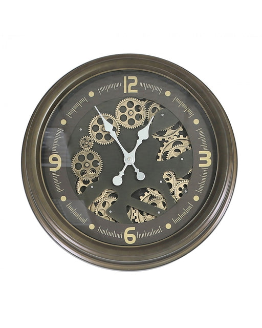 Round 52.6cm Coffee Brown Gears Wall Clock