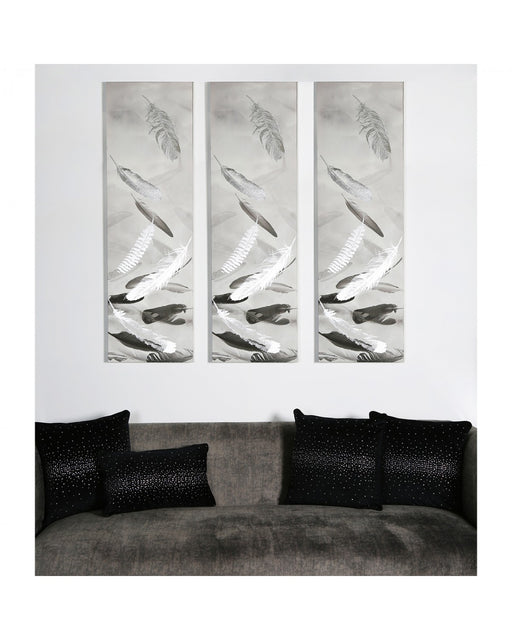 Black And Silver Feather Print Slim Canvas Wall Art