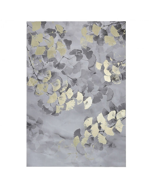 CP338 80x120 Gingko Leaf Canvas Silver and Gold